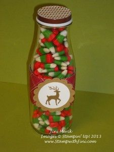 I made this quick and easy treat for my daughter's college guy friends  - repurposing my Starbucks Frappuccino bottles filled with Christmas candy.