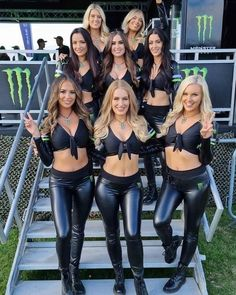 Monster Energy Girls, Monster Girl, Female Gymnast, Sexy Legs And Heels, Shiny Leggings, Grid Girls, Leather Pants, Leather Outfits, Lady