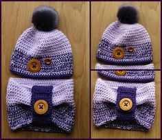 Custom Crocheted Winter Set with Buttons and Fur Pom Pom. Shown in Purples. Can…