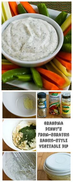 Skip the packaged mix and make my Grandma Denny's From-Scratch Ranch Style Vegetable Dip whenever you need something healthy to munch on.  My family has been making grandma's recipe long before Ranch Dip became popular; keep these ingredients on hand and you can make this dip from scratch!   Use low-carb vegetables like celery, jicama, bell pepper strips, broccoli, and cauliflower for low-carb dipping.   [from KalynsKitchen.com]