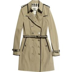 Burberry London Leather-trimmed gabardine trench coat ($1,995) ❤ liked on Polyvore