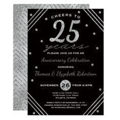 25th wedding anniversary party invitation with photo in silver and anniversary party invitation faux silver card anniversary cyo diy gift idea presents party celebration solutioingenieria Gallery