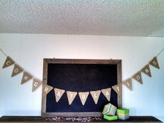 Congratulations Burlap Banner Triangle Flag Pennant by SweetThymes