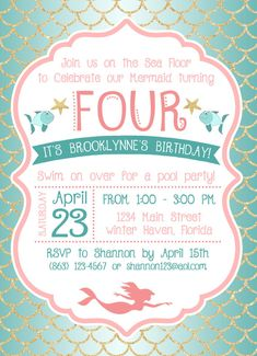 Under the Sea / Mermaid Birthday Party Invitation