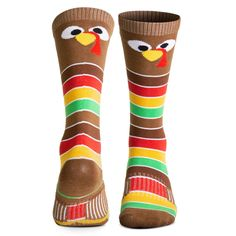 Woven Knee-High Socks - Goofy Turkey With Stripes Thigh High Boots Heels, Thigh High Socks, Knee Socks, Heel Boots, Thigh Highs, High Socks Outfits, Race Day Outfits, Gifts For Runners, Running Socks