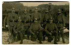 WW I German RPPC 8 Bavarian Foot Artillery Soldiers Spike Helmet 1914