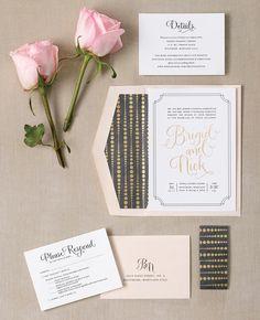 I love this font. Fabulous Gold Foil Invitations  | TheKnot.com
