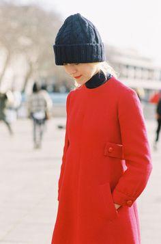 beanie & a red coat in Paris.