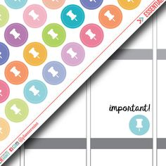 Pushpin Planner Stickers - Dot Icon - Erin Condren Life Planner - Happy Planner - Important - Push Pin - Reminder - Matte or Glossy