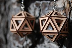 Laser Cut Earrings Rock Drops Sterling Silver by KristinaBanwell
