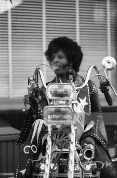 Sly Stone of the psychedelic soul group 'Sly and the Family Stone' rides a chopper on April 3, 1973 in San Francisco, California.