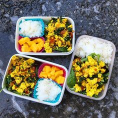 "105 Likes, 3 Comments - Kristie (@bringontheblase) on Instagram: ""Wednesday #lunches. Steamed jasmine rice + fresh mango + tofu scramble with red chard stems and…"""