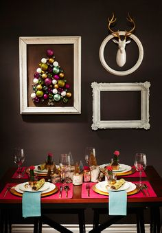 Love the framing idea                DIY Framed Ornament Tree Art - Hello Yellow Blog