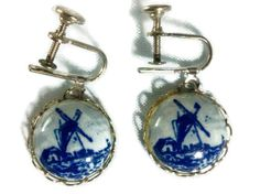 Hand painted Blue Delft  windmill screw back earrings on card made in Holland. $14.99, via Etsy.