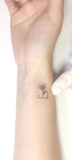 Beauty and the Beast Red Rose Small Minimal Wrist Tattoo Ideas for Women Floral Flower Arm Tat - ideas de tatuaje rosa de muñeca para mujeres - www.MyBodiArt.com