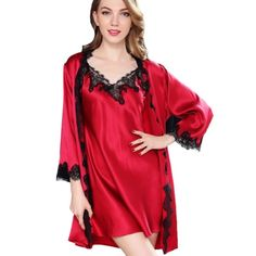 3ac44ab1f99b7 Claret Red Silk Nightgown Robe Set with Black Lace Trim
