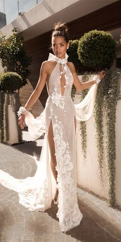 30 Wonderful Beach Wedding Dresses For Hot Weather Dream about wedding on the beach or seaside? You must also think about how will your wedding gown look like. Beach wedding dresses must be not. Sheath Wedding Gown, V Neck Wedding Dress, Wedding Dress Trends, Sexy Wedding Dresses, Sexy Dresses, Beautiful Dresses, Wedding Gowns, Beach Dresses, Beautiful Bride
