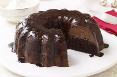Serve a tasty chocolate flan cake for dessert with our Triple-Chocolate Chocoflan recipe! This chocolate flan cake is perfect for any special occasion. Kraft Foods, Kraft Recipes, Cake Recipes, Dessert Recipes, Yummy Recipes, Mexican Desserts, Mexican Recipes, Amazing Recipes, Dessert Ideas