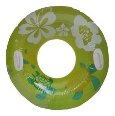 Lime Green Floral/Turtles 38 inch Inflatable Tube with Handles. Top half is a clear with images of turtles and white colored floral pattern, bottom of half is solid lime green color. Strong durable material. Approximate size: 38 inch Diameter. Made for ages 9+. Float around on this awesome inner tube.