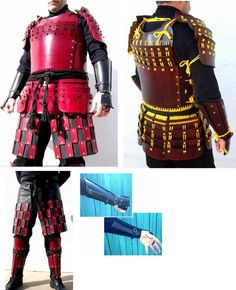 Armor idea for upper legs. Do the black part in as well as the red squares, tho they& need to be apart as well. Or do brig and stud them britches. Easy armor project and a great complement to my greaves. Samurai Armor Diy, Samurai Costume, Sca Armor, Medieval Armor, Medieval Dress, Costume Armour, Larp, Cool Costumes, Halloween Costumes