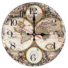 2017 New fashion wall clock wooden clocks Quartz watch Europe home decor living room still life circle single face map stickers
