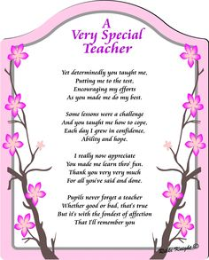 Rikki Knight Avery Special Teacher- Thank You Touching Poem with Full Color Graphics - Professionally Printed onto Chromaluxe Arch Panel with Easel Back Happy Teachers Day Wishes, Wishes For Teacher, Teachers Day Greetings, Teachers Day Gifts, Teacher Cards, Teacher Thank You, Teacher Gifts, Teacher Appreciation Poems, Teacher Quotes