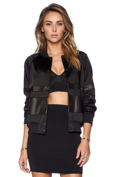 T by Alexander Wang Stretch Satin Bomber Jacket in Black