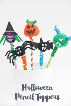 These Halloween pencil toppers are a perfect Halloween class party craft idea. Learn how to make a spider, witch, monster, bat or pumpkin pencil topper.