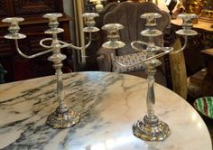 "Pair of Italian Candelabra  17"" Tall   $395  Grace Designs Booth #333  City View Antique Mall  6830 Walling Lane Dallas, TX 75231  Like us on Facebook: https://www.facebook.com/pages/Grac"