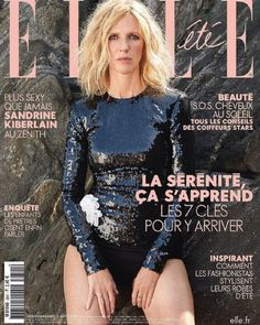 Sandrine Kiberlain, Elle Magazine 02 August 2019 Cover Photo - France French People, Elle Magazine, Covergirl, Cover Photos, All Black, Sexy, Christmas Sweaters, Sequin Skirt, Graphic Sweatshirt