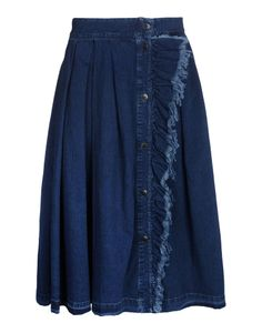 Denim skirt by BAND OF OUTSIDERS #New Arrivals Collection Blue Fringe
