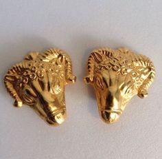 Metropolitan Museum of Art NY MMA Rams Head Earrings Relief Roman Revival Amun #MetropolitanMuseumofArt #Clip