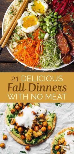 21 delicious meatless dinners for fall - Beste Gesunde Rezepte - Vegetarian Veggie Dishes, Veggie Recipes, Healthy Recipes, Meatless Recipes, Veggie Food, Cooking Recipes, Fall Vegetarian Recipes, Polenta Recipes, Cooking Pork