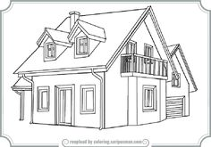 Coloring Page For A House