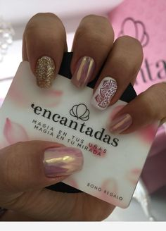 Gold and chrome nails Nude Nails, White Nails, Green Nails, Hair And Nails, My Nails, Chrome Nails, Nail Decorations, Cute Nail Designs, Manicure And Pedicure