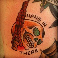 Hang skull , traditional tattoo