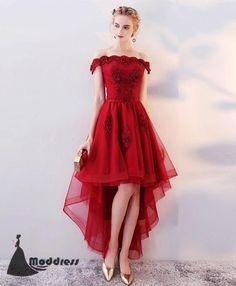 High Low Homecoming dress Off the Shoulder Short Prom Dress Applique Formal Dress,HS517 #homecomingdress#fashion#promdress#eveningdress#promgowns#cocktaildress