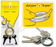 """These Free Key """"Press-To-Open"""" flat keyrings by Eric von Schoultz made of sand blasted stainless steel are nail savers ~ just press/pinch and the leverage helps open the end! Nice and easy to slip the keys on and off when needed."""