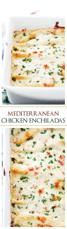 Mediterranean White Chicken Enchiladas www diethood com Amazing Chicken Enchiladas with creamy yogurt sauce red bell peppers and Italian Cheeses The very best Enchiladas I have ever before made Greek Recipes, Mexican Food Recipes, Dinner Recipes, Brunch Recipes, Mediterranean Dishes, Mediterranean Diet Recipes, White Chicken Enchiladas, Cheese Enchiladas, Chicken Tacos
