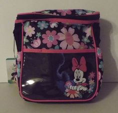 Minnie Mouse Black Mini Diaper Bag Pink Green Flowers Plastic Outer Pocket #DisneyBaby