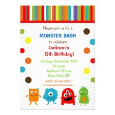 Shop Monsters Birthday Invitations created by LittleSeiraStudio. Monster Birthday Invitations, Monster Birthday Parties, Birthday Invitations Kids, Circus Birthday, Monster Party, Birthday Party Themes, Birthday Ideas, Party Monsters, Monster Cakes
