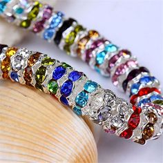 30x 8mm Mix Color Crystal Rondelle Spacer Beads Charm Silver Plated fit  Bracelet  Kwan   342a2ab41dc9