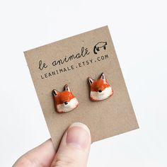 Cute fox earrings made from polymer clay - #etsy