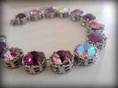 Swarovski Crystal Tennis Bracelet Amethyst Multicolors Art Deco Filigree Setting #Handmade #ArtDecoFiligreeBracelet