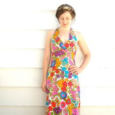 60s Tropical Maxi Dress// 1960s Floral Maxidress// by AstralBoutique, $38.00