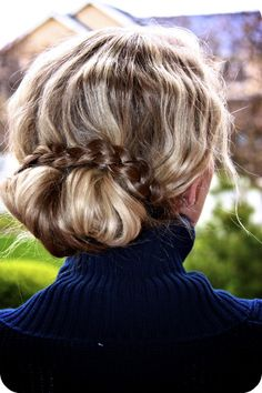 divide hair into a top section, and 2 bottom sections--roll the top section, braid the 2 bottoms sections, wrap, and pin.