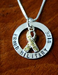 """Personalize a military awareness necklace for a wife, mom or girlfriend to wear close to heart. Customize """"Proud Military Wife"""" with phrase of your choice. Washer Crafts, Army Wreath, Military Jewelry, Proud Wife, Military Wife, Jewelry Gifts, Jewelry Ideas, Stamped Jewelry, Metal Stamping"""