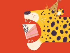 Eat All the Cake! Birthday Card by Lydia Nichols for Lagom, cute cheetah eating cake birthday illustration Children's Book Illustration, Character Illustration, Birthday Cake Illustration, Birthday Images, Birthday Cards, Cake Birthday, Birthday Quotes, Birthday Greetings, Birthday Wishes