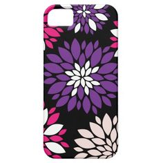 Purple Pink White Flower Art on Black iPhone 5 Cover