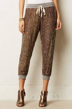 Sparkle with Nova Pants from Anthropologie: When all the partying is over, I shall wear these to still look AHMAZING. Suitable at home, out and on NY's Day. Sigh.